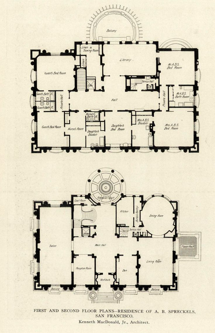 First and Second Floor plans of the A. B. Spreckels Mansion, San Francisco, California ARCHI/MAPS : Photo