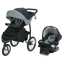 Graco FastAction Fold Jogger Travel System with SnugRide Click Connect 35 Infant Car Seat Holt