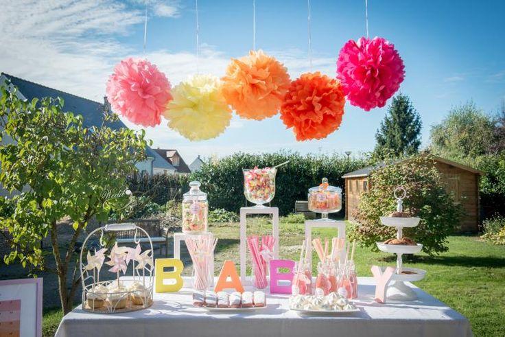 Wedd'in Design - décoration baby shower - thème coucher de soleil - candy bar - www.weddindesign.com
