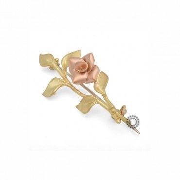 Γυναικεία καρφίτσα τριανταφυλλιά χρυσή Κ18 χειροποίητη σατινέ με ροζ χρυσό τριαντάφυλλο | Γυναικείες καρφίτσες ΤΣΑΛΔΑΡΗΣ Κόσμημα-Ρολόι στο Χαλάνδρι #χρυσο #18Κ #καρφιτσα #χειροποιητο