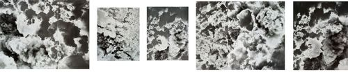 "Lisa Oppenheim. A Handley Page Halifax of No. 4 Group flies over the suburbs of Caen, France, during a major daylight raid to assist the Normandy land battle. [...] 1944/2012. (2012)  Medium: Five gelatin silver prints (photograms) Dimensions: 109 13/16 x 23 5/8"" (278.9 x 60 cm)"
