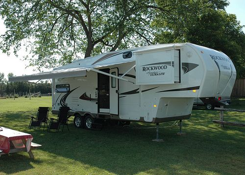 """She's a bit more comfortable than our tent.  """"Camping"""" becomes """"RV'ing"""". Yes, it's a verb.  We call her """"Baby"""".  Here, she's at Saugeen Springs R.V. Park, near Hanover, Ontario, Canada, a fabulous place to camp. (or R.V.).   Check out RV Tire Pressure Monitors"""