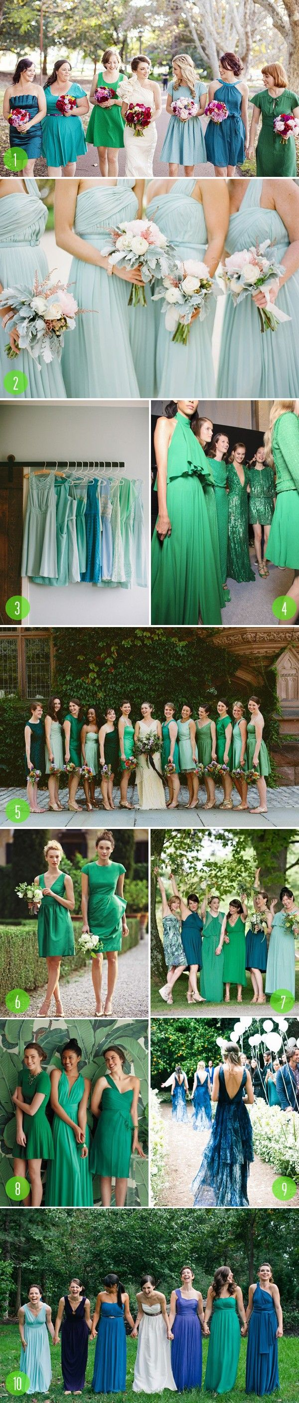 55 best green themed weddings images on pinterest bridal dresses top 10 cool colored bridesmaids dresses ombrellifo Image collections