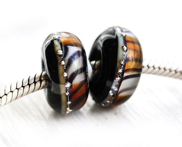 Tiger striped bead, Black Glass bracelet bead, Tiger Jewelry, European charms, large hole beads, Handmade Lampwork, European style bracelet by MayaHoneyJewelry on Etsy