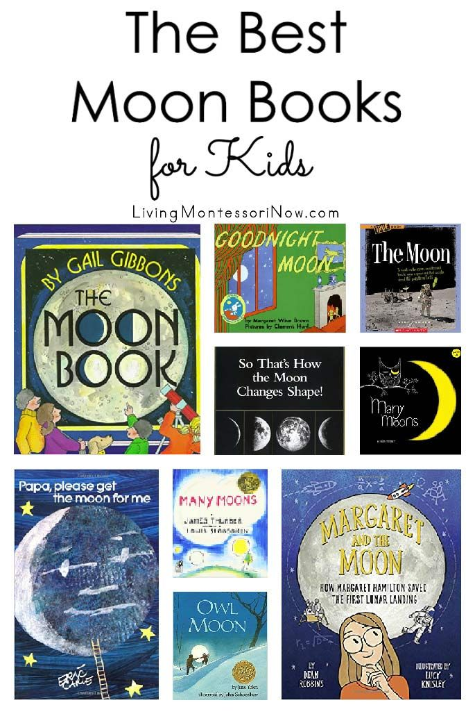 Recommendations of moon books for preschoolers through elementary-age kids. Nonfiction & fiction books for a moon unit. Includes a discussion of which books are Montessori friendly - Living Montessori Now #kidlit #childrensbooks #moonunit #homeschool