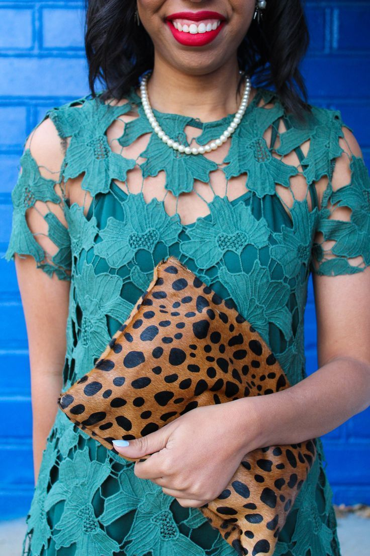 Looking for a dressy casual fall outfit for Thanksgiving? Style blogger features a fall green lace dress from Shop the Mint that fits the bill. // fenty beauty foundation, green lace dress for fall, fall dresses for thanksgiving, leopard clutch, best red lipstick for dark skin