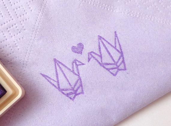 Origami crane rubber stamp, Invitation decor, Paper napkin, DIY wedding crane, Birds stamp, Japanese stamp, Purple bird, Invitation kit