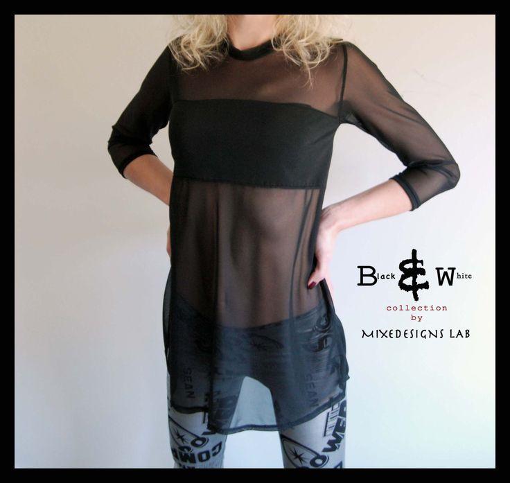 Blusa negra, transparente y elástica, cuello redondo y mangas 3/4, Moda Rockera - Mixedesigns lab de MixeDesigns en Etsy https://www.etsy.com/es/listing/121954698/blusa-negra-transparente-y-elastic
