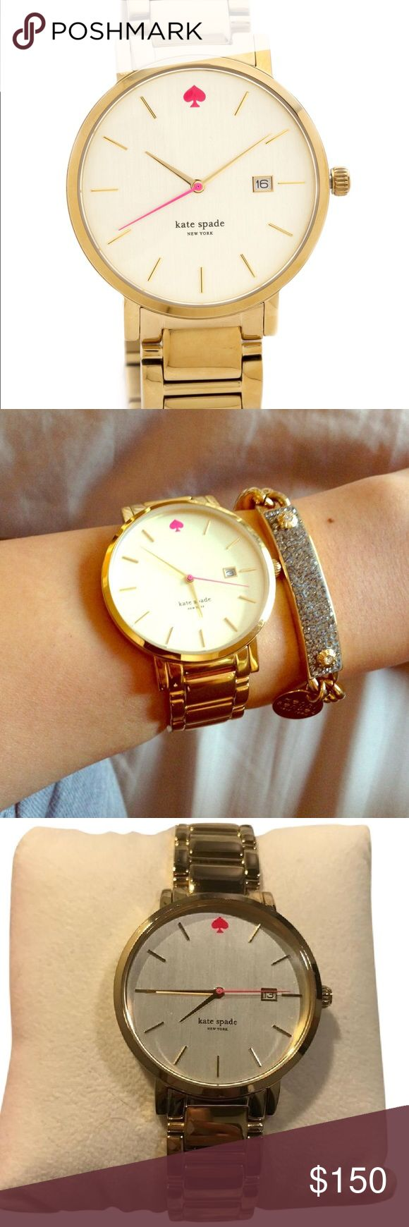 Kate Spade Gold Gramercy Watch In great condition! Comes with original box and watch links. Battery recently replaced!    Gold-plated stainless steel case and bracelet Deployment clasp closure. Three-hand analog display with quartz movement and date display window. Brushed gold dial face includes index hour markers and brand name Water resistant 3 ATM/30 meters Measurements: Case Height: 38 mm Case Width: 38 mm Case Depth: 7 mm Band Width: 3⁄4 in Band Circumference/Length: 8 3⁄4 in kate