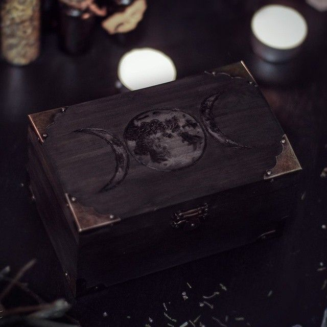 Triple Moon Wiccan Wooden Box