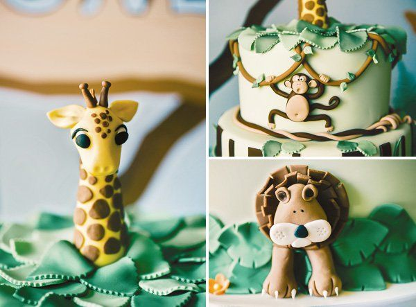 This amazing jungle themed birthday party features an incredible cake with adorable fondant jungle animals, animal lunch boxes & more!