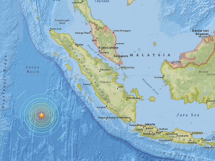 Tsunami warnings have been issued by national authorities around the Indian Ocean after a shallow 7.9 magnitude earthquake struck off the southwest coast of Sumatra island in Indonesia.  The US Geological Survey, which initially reported the tremor at 8.2 magnitude, said the massive earthquake hit at 12.49pm GMT at a depth of just 10km (six miles), some 600km (370 miles) off the coast.