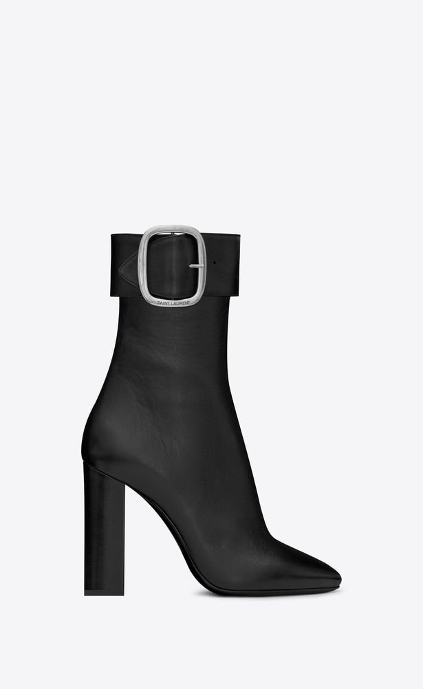 ba67d5224c5 SAINT LAURENT Heel Booties Woman Joplin 105 ankle boot in black leather a_V4