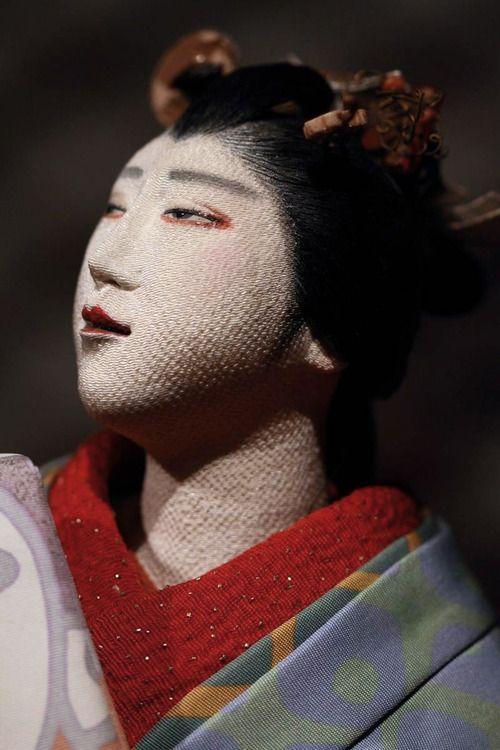 "Close-up of one of World Tsujimura Toshikazu Collection of ""Jusaburo"" dolls. Japan"