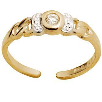 Buy our Australian made Gold toe ring with Cubic Zirconia - BEE-24126-CZ online. Explore our range of custom made chain jewellery, rings, pendants, earrings and charms.