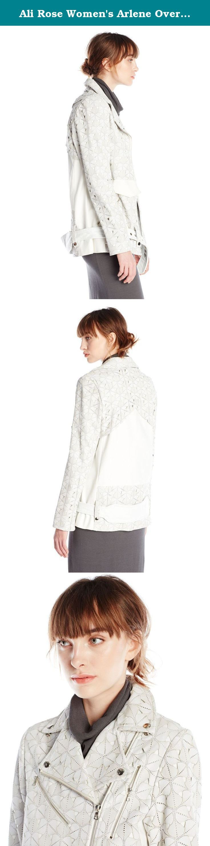 Ali Rose Women's Arlene Oversize Laser Cut Leather Moto Jacket. Merging technology of laser cutting with the delicate motif inspired by vintage wallpaper and sterile hardware into the ideal relaxed fit for the modern intellectual fashion forward woman. Inspired by the need to have a jacket to wear while getting an I.V. or blood drawn at the doctors, the jacket incorporates quirky details such as the hospital bracelet shaped belt, and sleeves that unzip all the way to expose the arm. This…
