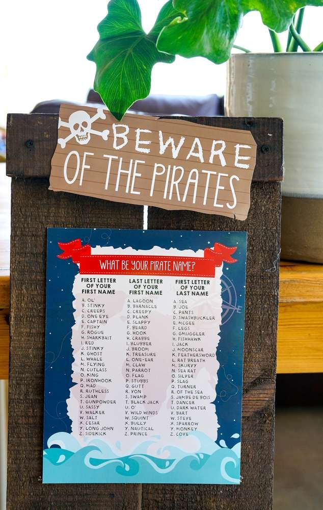 Classic Pirate Party Birthday Party Ideas Photo 1 Of 24 Pirate Birthday Party Pirate Names Pirate Birthday