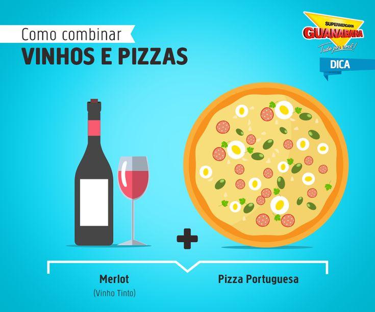 Merlot + Pizza Portuguesa — Supermercados Guanabara