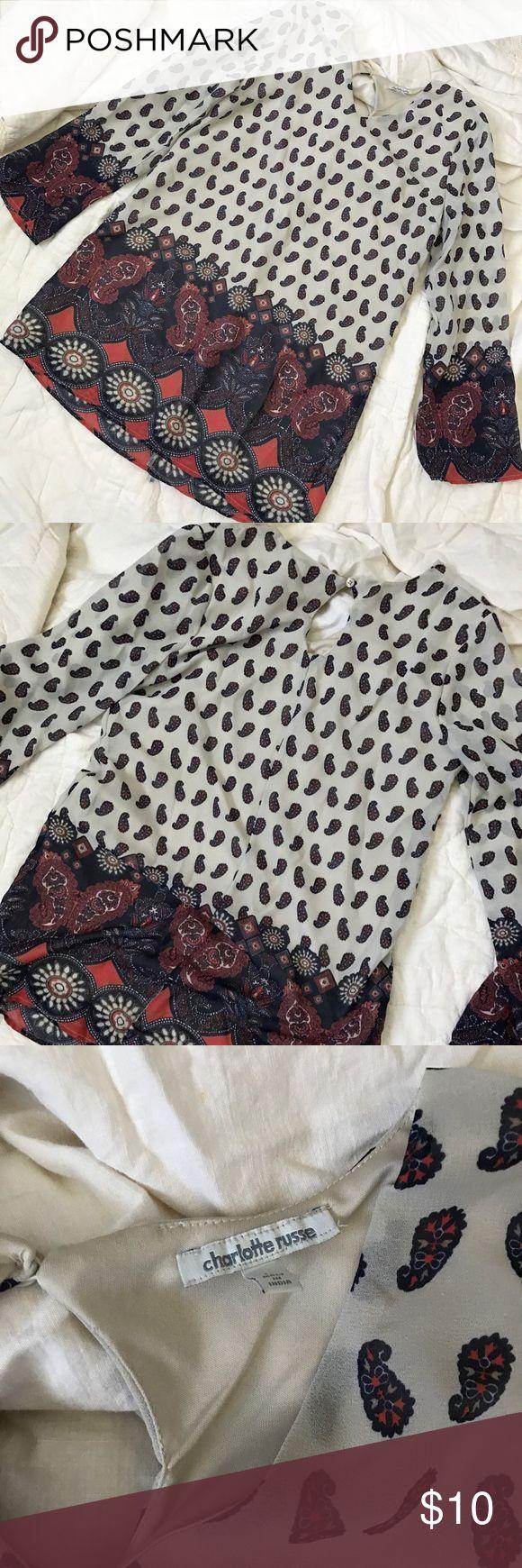 Charlotte Rouse shift dress Beautiful pattern shift dress! Charlotte Russe Dresses Long Sleeve