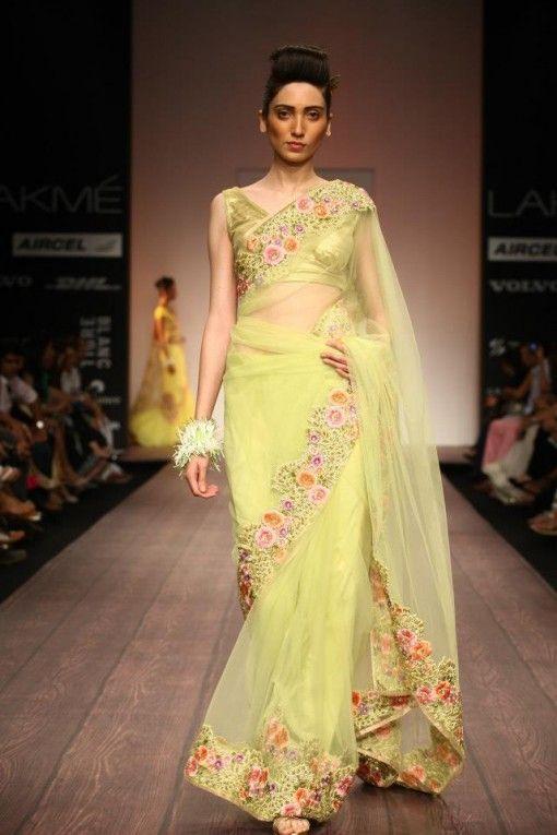 bhairavi jaikishan lfw ss13 pale yellow floral sari
