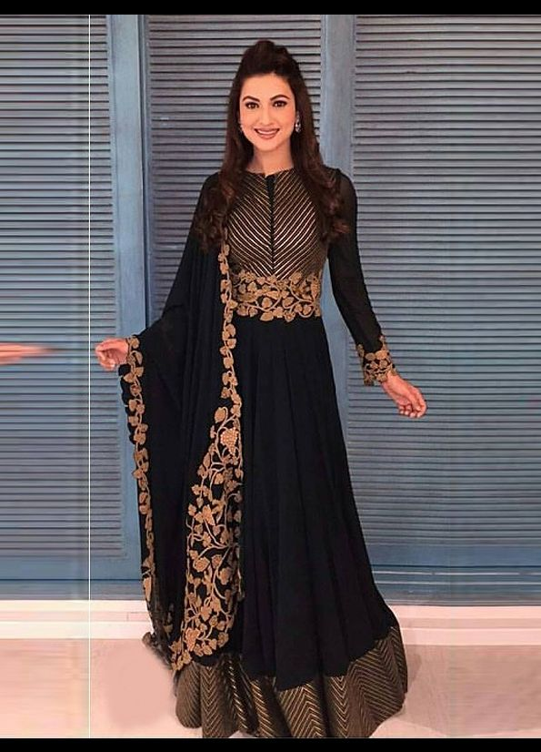 Black and Gold Embroidered Designer Anarkali