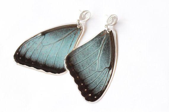 Blue Butterfly Wing Earrings With Sterling Silver by MONARCASHOP, $24.00