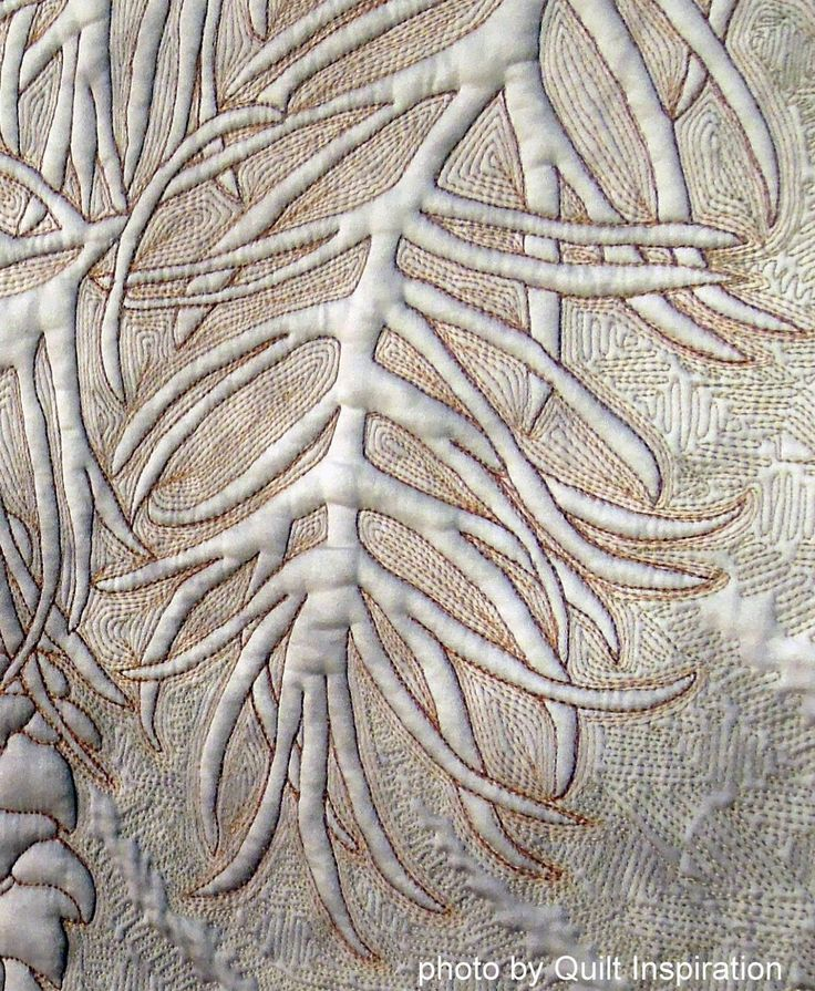 close up, Winter by Laurie Weiner, whole cloth quilt, 2013 Houston IQF.  Photo by Quilt Inspiration.