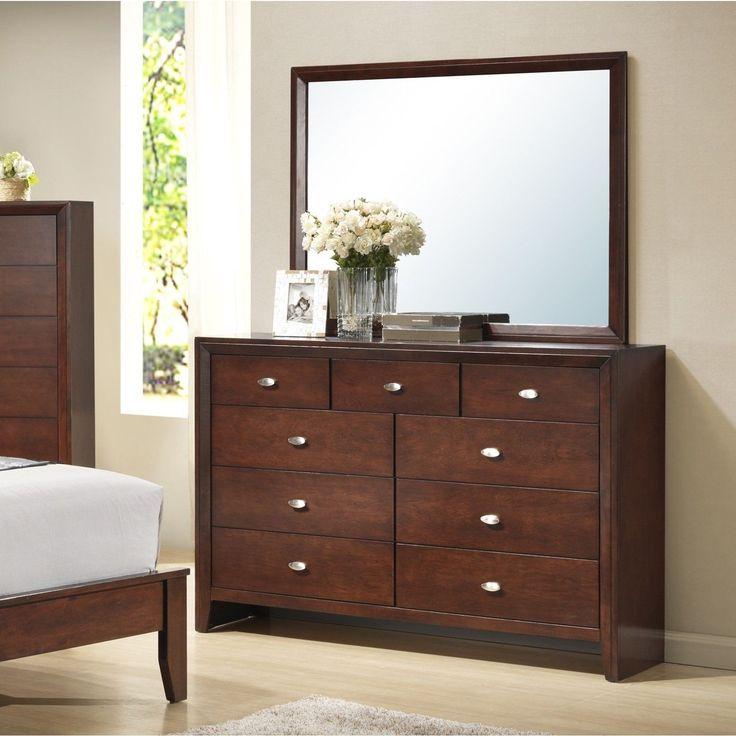 Gloria 351 Brown Cherry Finish Wood Dresser and Mirror (Brown Cherry), Size 9-drawer