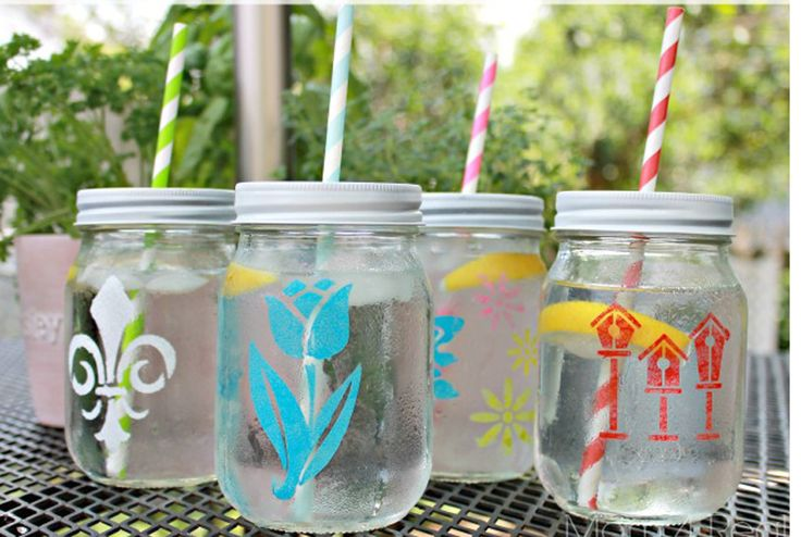 All you need for this cute craft? Mason jars (naturally), stencils, and glass-safe paint. If these don't scream backyard party, we're not sure what does. Get the tutorial at Mom 4 Real.   - CountryLiving.com