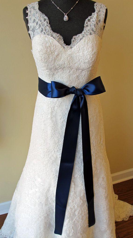 Navy Blue Wedding Dress Sash. $20