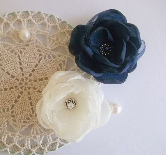 Ivory Navy Blue fabric Flowers in handmade, Bridal hair dress shoes accessory, Bridesmaids hair shoe clip brooch, Flower girls Birthday gift