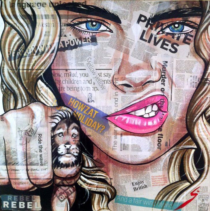 Conrad Crispin Newsprint Portrait of Cara Delevigne