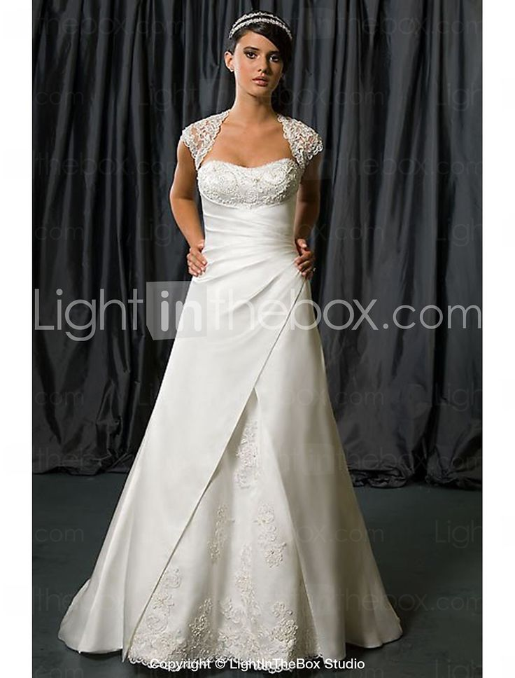 A-line Wedding Dress Chapel Train/Floor-length Queen Anne Satin Chiffon 2015 – $189.99