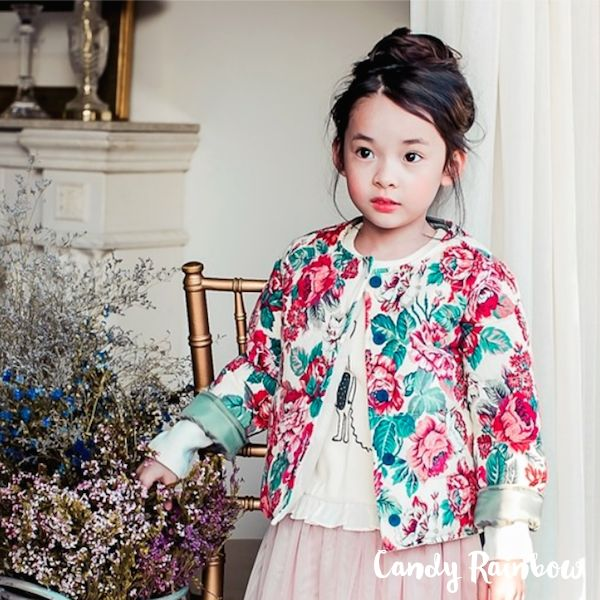 Gorgeous Floral Coat - Korea children fashion