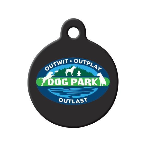 Survivor Dog Park Dog Tag - A perfect pet ID tag for the Survivor fan who has a dog that has what it takes to Outwit, Outplay and Outlast at the Dog Park!