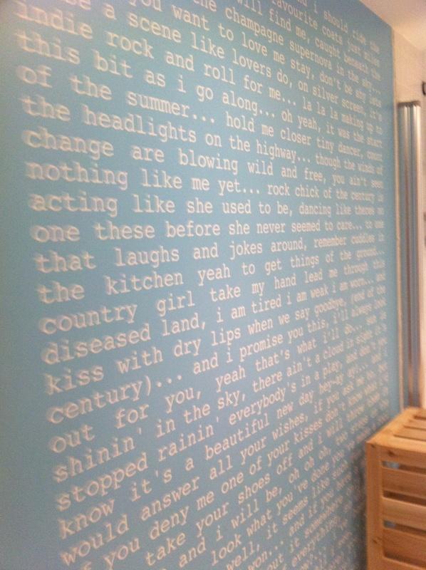 song lyrics on the wall