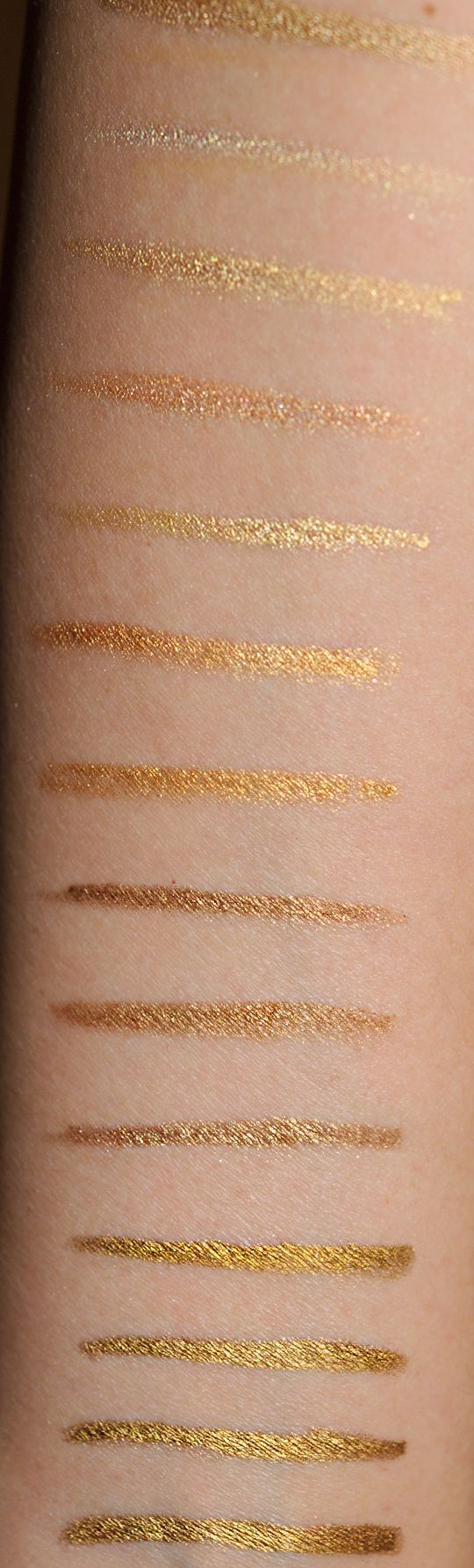 Gold Eyeliners: Swatches, Dupes, and Comparisons...I miss L'Oreal HIP Gold Chrome, used to wear it all the time but can't find it anywhere anymore!!!