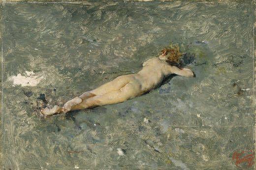 Mariano Fortuny y Marsal - Nude on the Beach at Portici (1874), Museo Nacional del Prado, Madrid