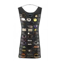 """Little black dress - Super smart """"kjole"""" fra Umbra til opbevaring af fx smykker eller hårpynt.  Forsiden har 39 små lommer, og bagsiden har 24 velcrobånd.  Hæng den i dit skab, og gem værdisagerne fra indbrudstyven"""