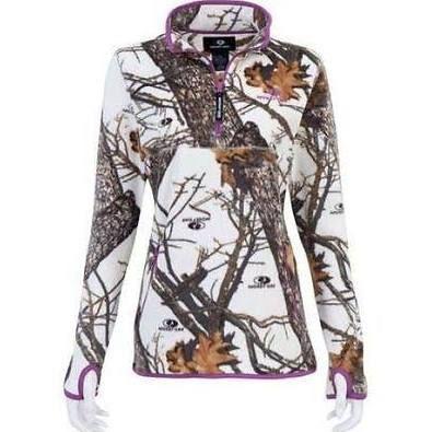Women's Mossy Oak Snow White Camo Purple Fleece Jacket Camouflage S M