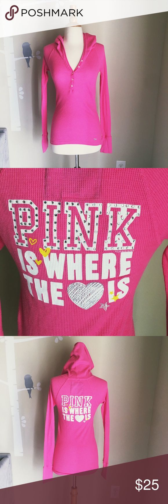 PINK VS Thermal Hooded thermal excellent used condition. PINK Victoria's Secret Tops Tees - Long Sleeve