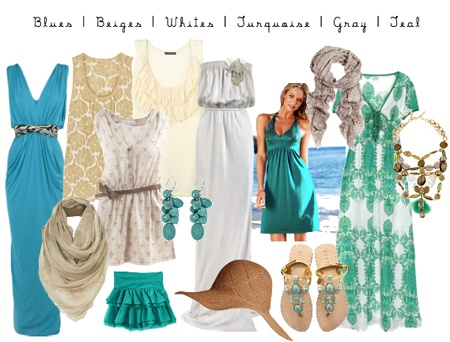 turquoise, beige and white.                             love this color palette.