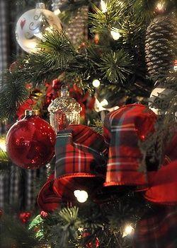 Pretty tartan with glass ornaments