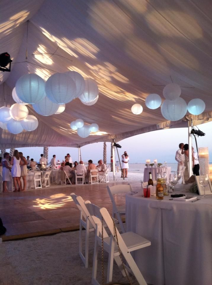 White Tent Liner Wedding Paper Lanterns Beach Carrie Darling Events Key State Park Ideas In 2018 Pinterest