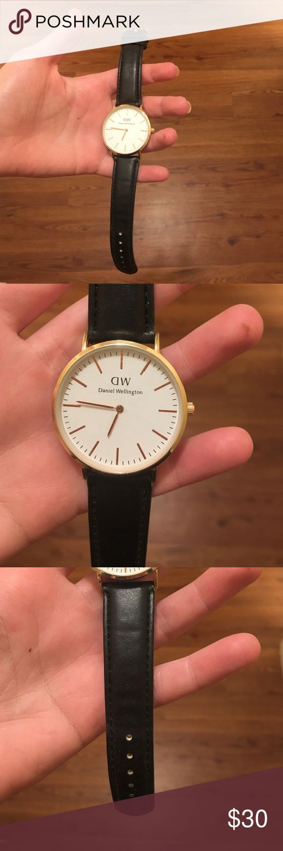 DANIEL WELLINGTON WATCH new! Black band with rose gold face. Price reflects auth. Daniel Wellington Accessories Watches