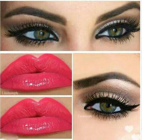 Stupendo trucco : occhi con ombretto marrone e la lainer con mascara ....rossetto : rosso chiaro
