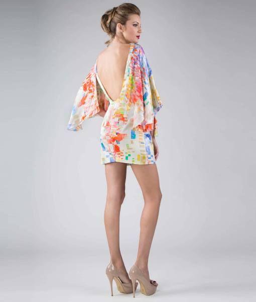 #ItalianStyle  Batwing sleeves dress, pattern – satin 100% silk #madeinitaly #wearitalian