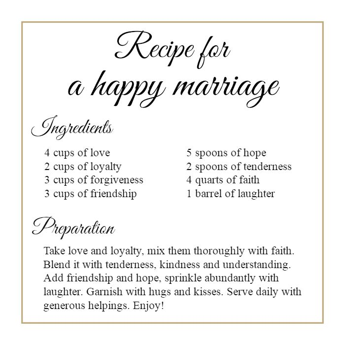 This is a graphic of Punchy Recipe for a Happy Marriage Printable