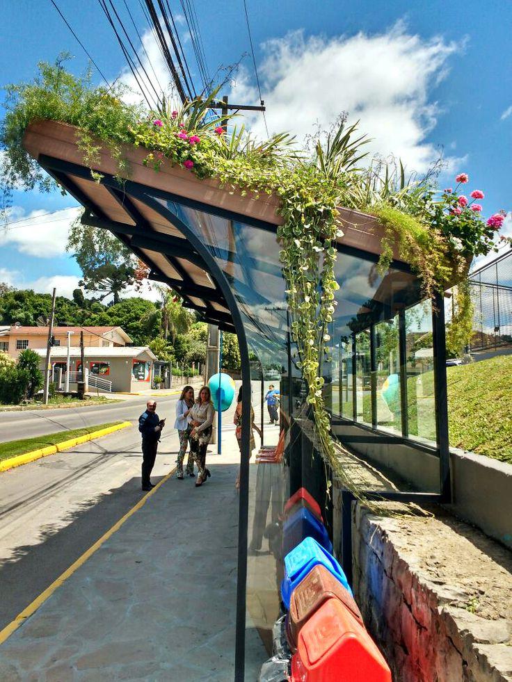 ponto de ônibus verde