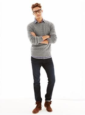 Flannel Gingham Shirt + Cable knit sweater + 1969 Authentic Skinny Fit Jeans
